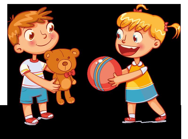 Enfants avec un doudou qui jouent à la balle
